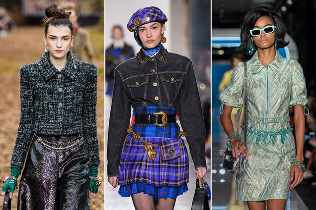 Chain belts at Chanel Fall 2018, Versace Fall 2018 and Moschino Fall 2018.