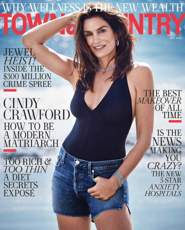 Town & Country May 2018 : Cindy Crawford by Victor Demarchelier