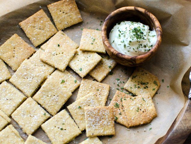 Nooch Crackers sprinkled with nutritional yeast, recipe by Bob's Red Mill