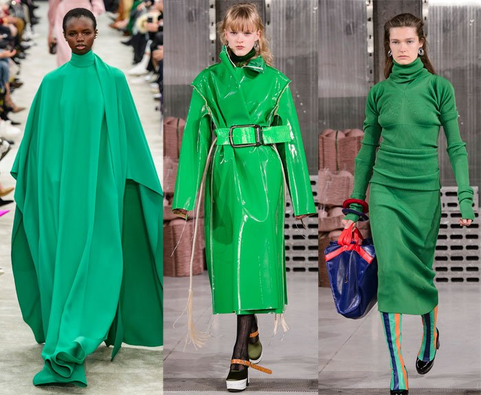 Kelly green on the Valentino and Marni Fall 2018 runways