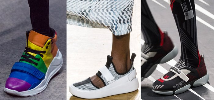 Velcro sneakers on the Spring 2018 runways at Burberry, Issey Miyake and Prada