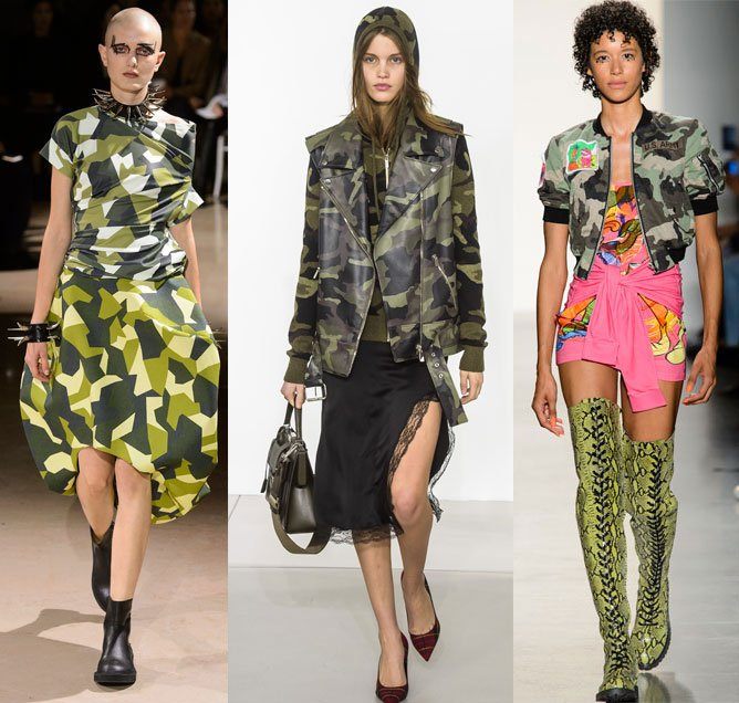 Camo prints on the runway at Junway Watanabe (Spring 2018), Michael Kors (Fall 2018) and Jeremy Scott (Spring 2018)
