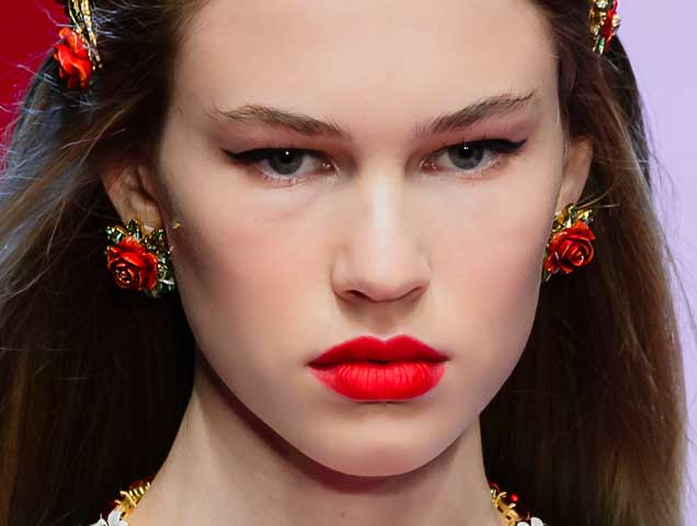 Floral earrings on the Dolce & Gabbana Spring 2018 runway