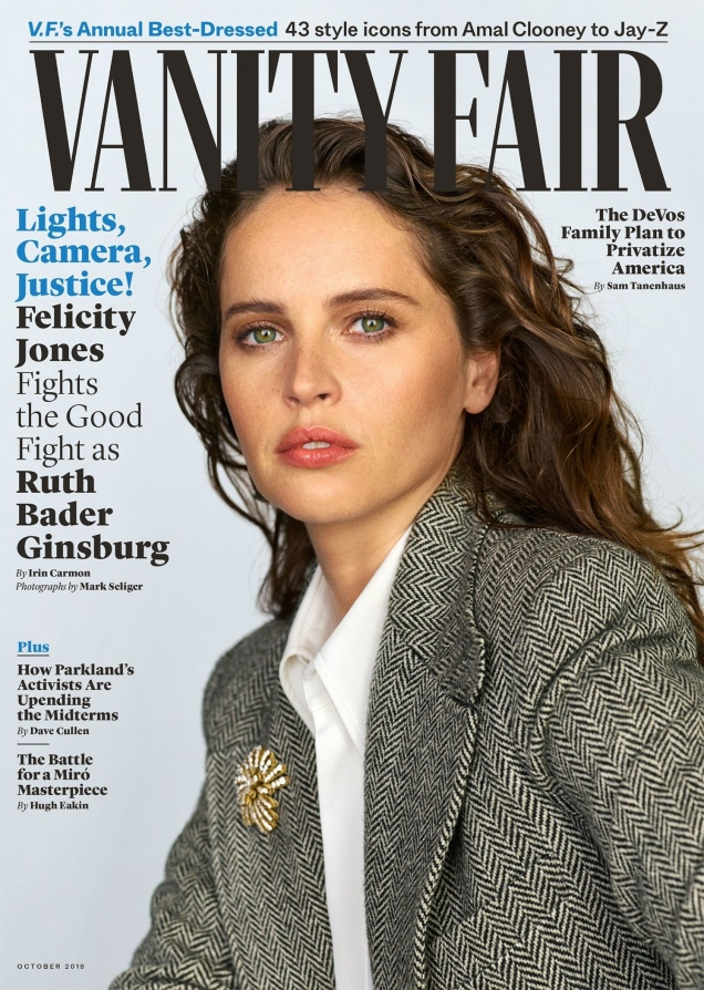 Vanity Fair October 2018 : Felicity Jones by Mark Seliger