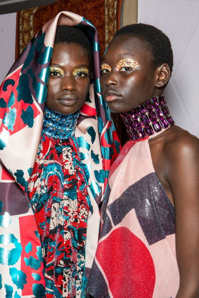 Models backstage at Halpern's Fall 2019 show.