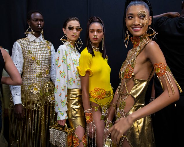 Models backstage at Area's Spring 2020 show in New York.