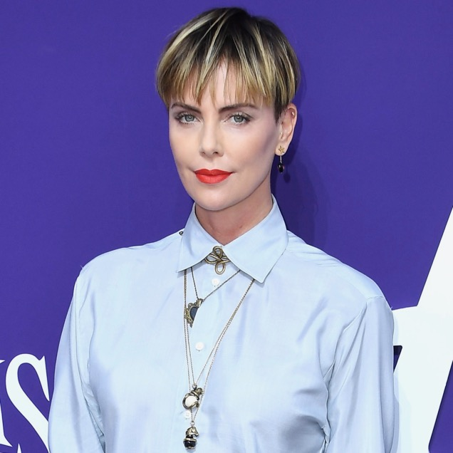 Charlize Theron with a bowl cut.