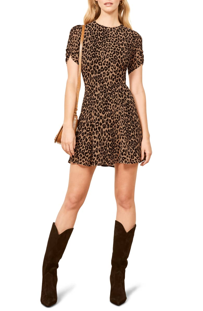 Reformation  10 Versatile Dresses That Will Take You From Work to Play Reformation Gracie Ruched Sleeve Minidress