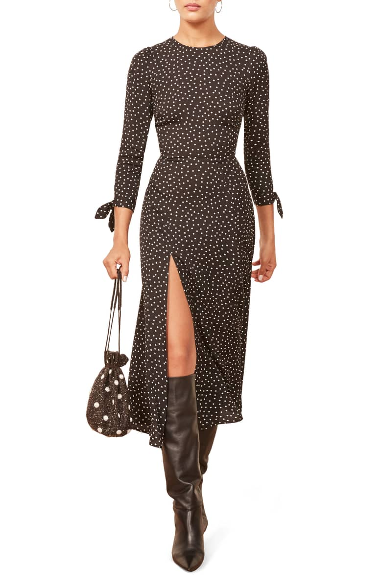 Reformation  10 Versatile Dresses That Will Take You From Work to Play Reformation Zelda Slit Dress