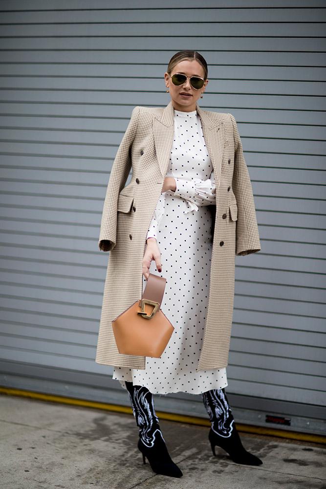 new-york-fall-2018-street-style-beige-coat-white-polka-dot-dress-black-cowboy-boots.jpg (667×1000)