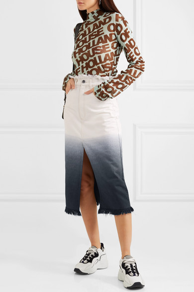 House of Holland  27 Midi Skirts You Need in Your Closet ASAP House of Holland Frayed Denim