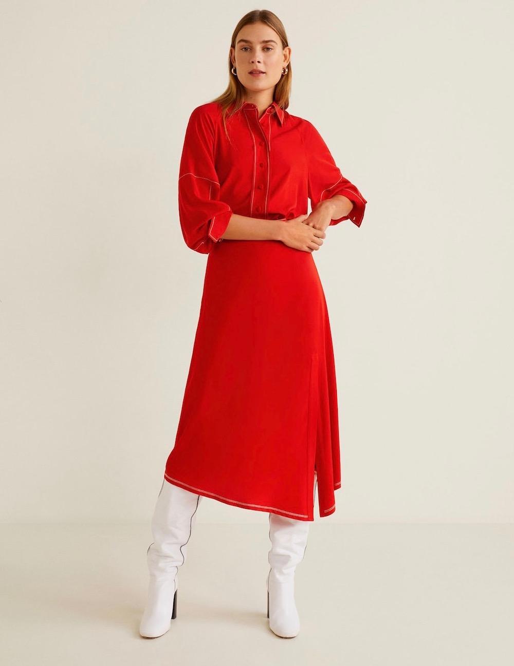 Mango  27 Midi Skirts You Need in Your Closet ASAP Mango Slit Hem Skirt