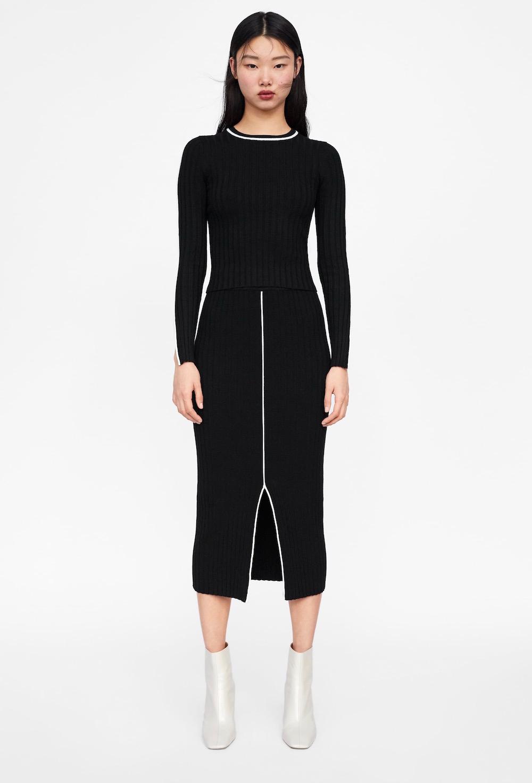 Zara  27 Midi Skirts You Need in Your Closet ASAP Zara Ribbed Skirt