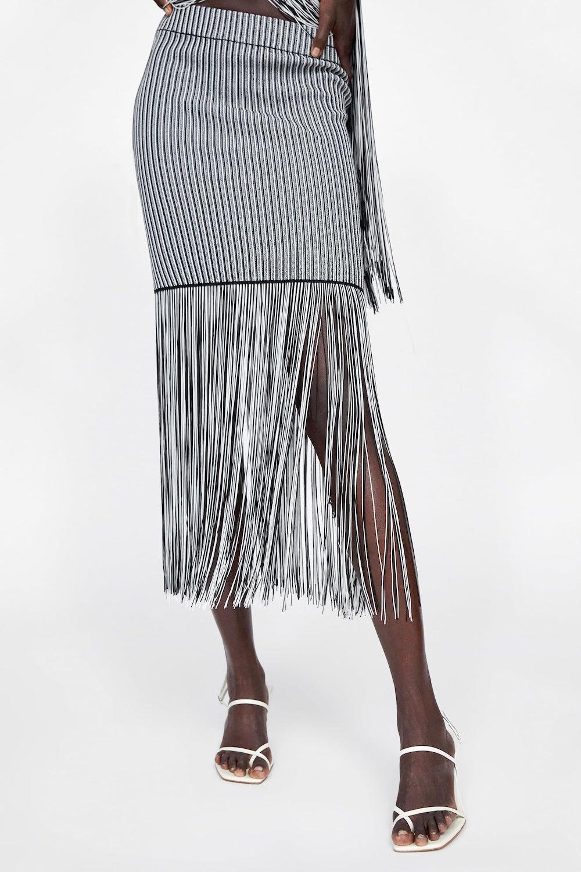 Zara  27 Midi Skirts You Need in Your Closet ASAP Zara Skirt Fringe
